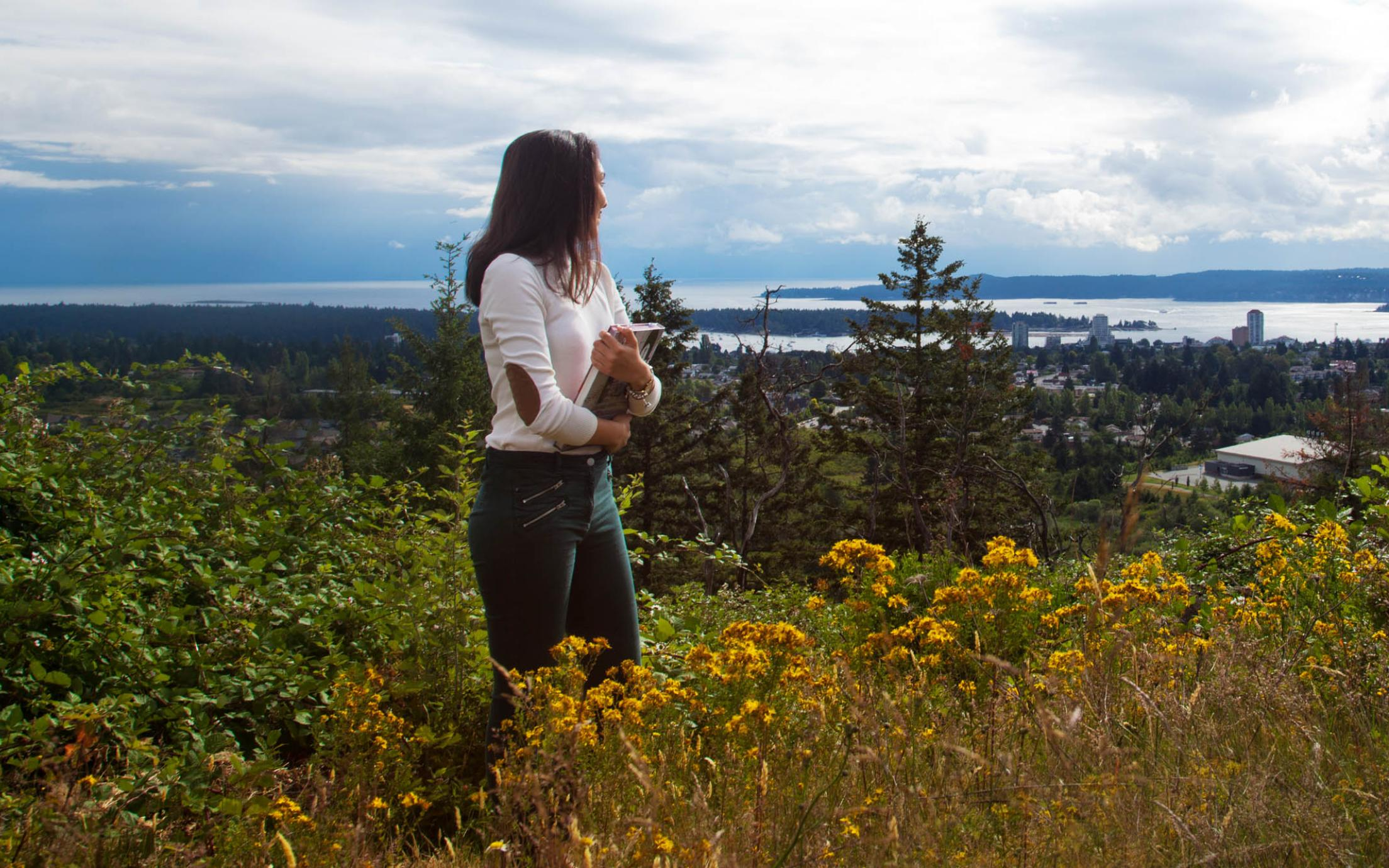 A Student of the courses in humanities study program is enjoying Vancouver Island's beautiful landscape