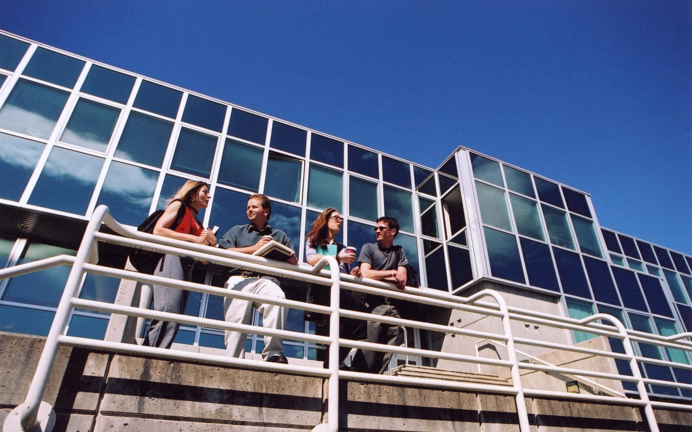 Students of the Bachelor of Arts, Major and Minor in Liberal Studies program in front of the library