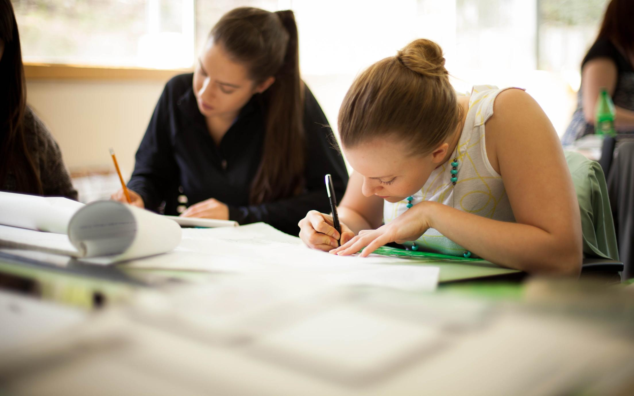 A group of students of the Bachelor Degree, Psychology Honours studying in the classroom