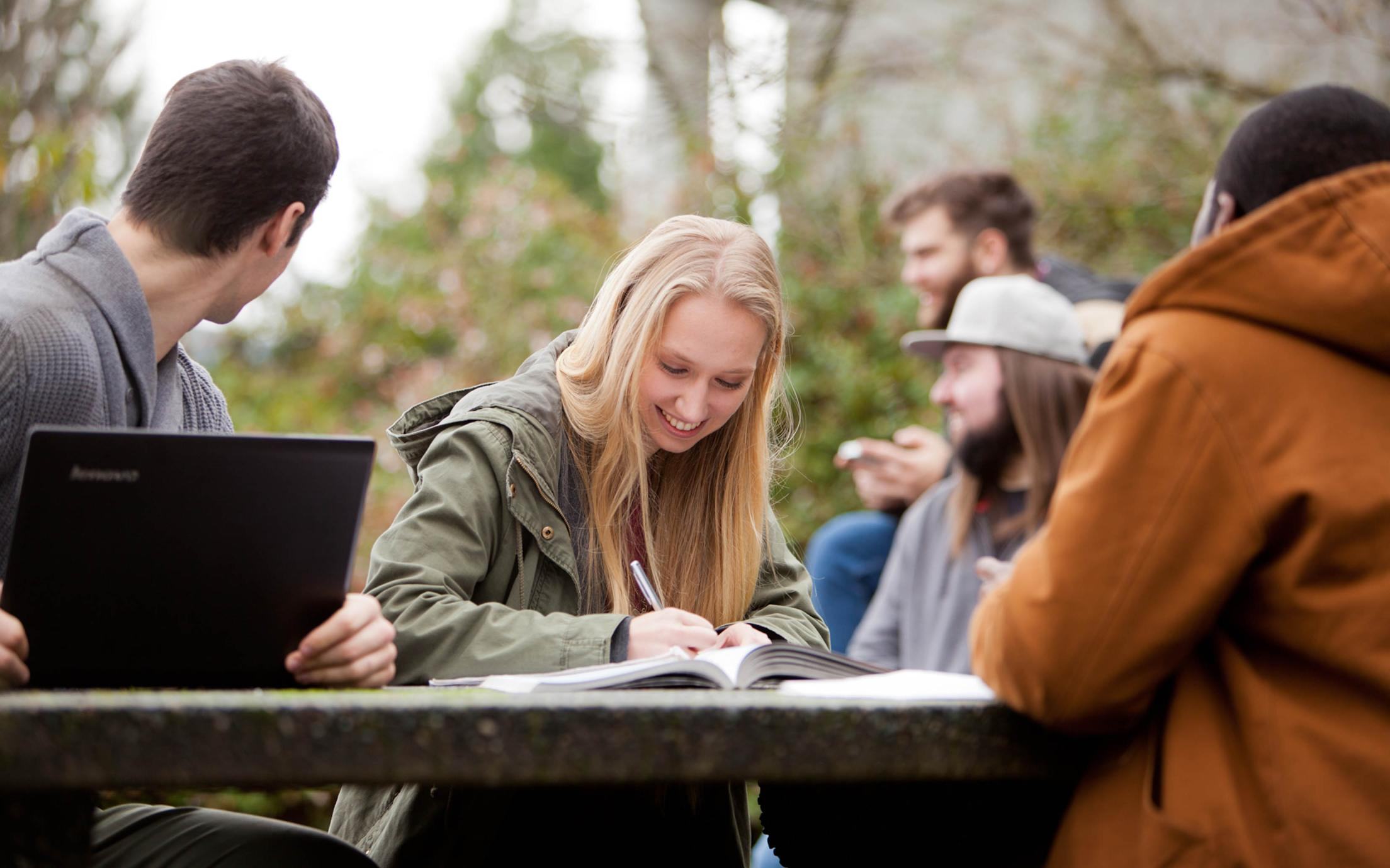 VIU's BBA Degree students studying outside