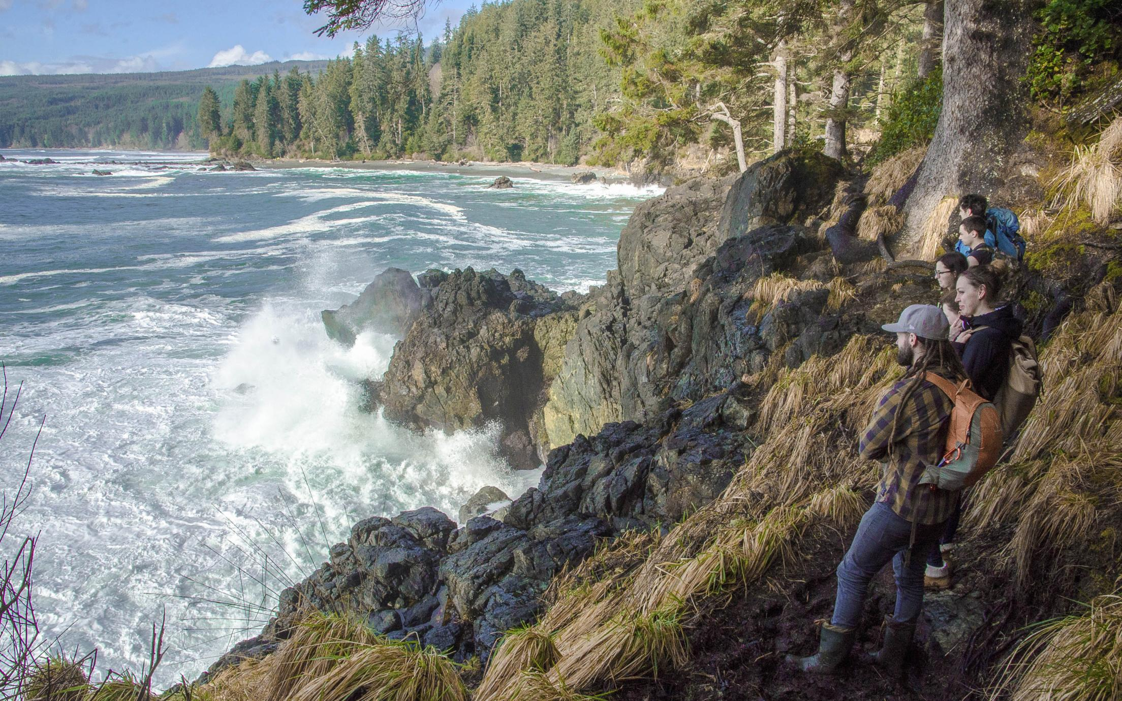 Students of the Bachelor of Arts, Minor in Earth Science program enjoying a field trip to Vancouver Island's west coast