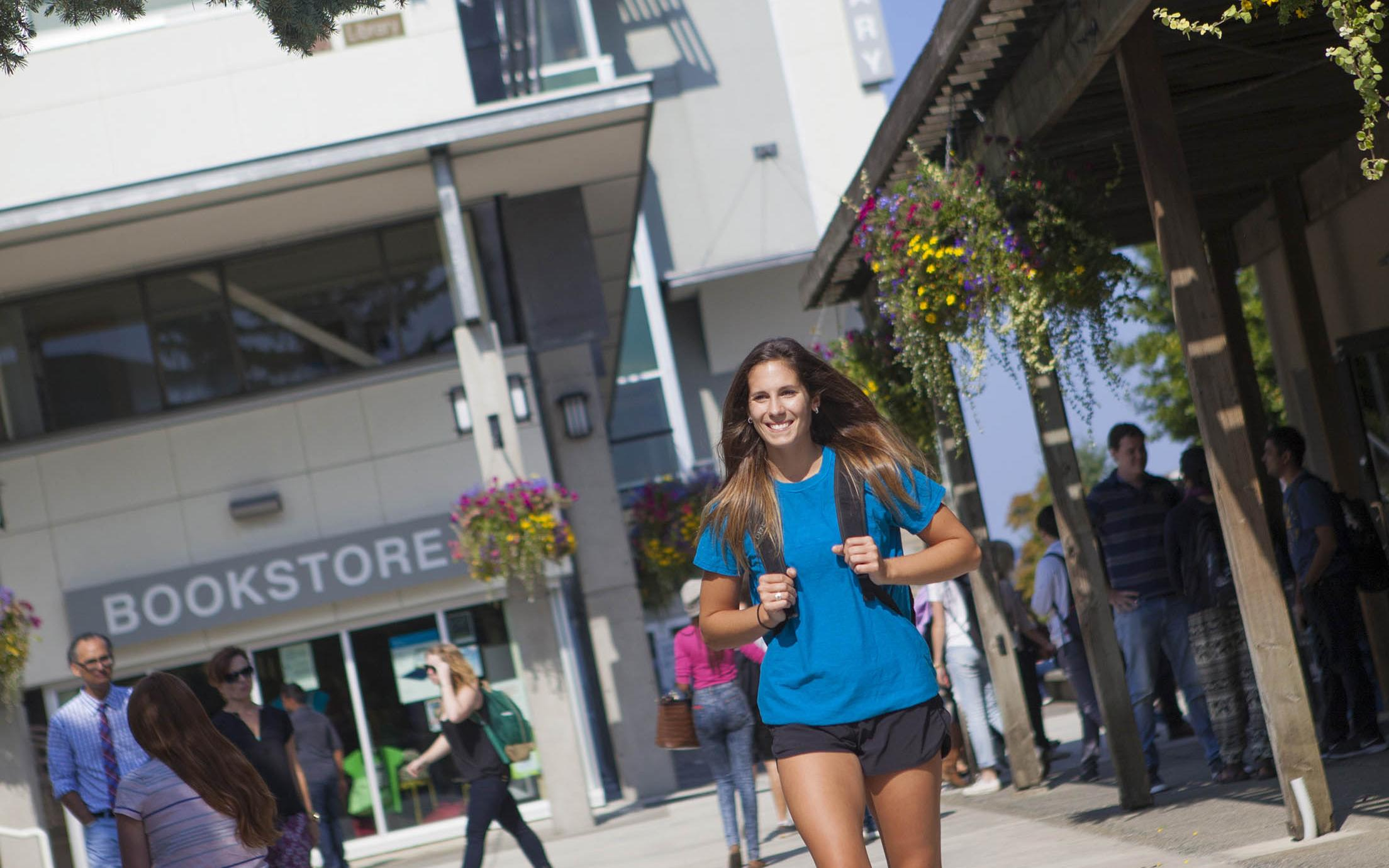 A Student of the Bachelor of Tourism Management program on campus of VIU's tourism school on Vancouver Island