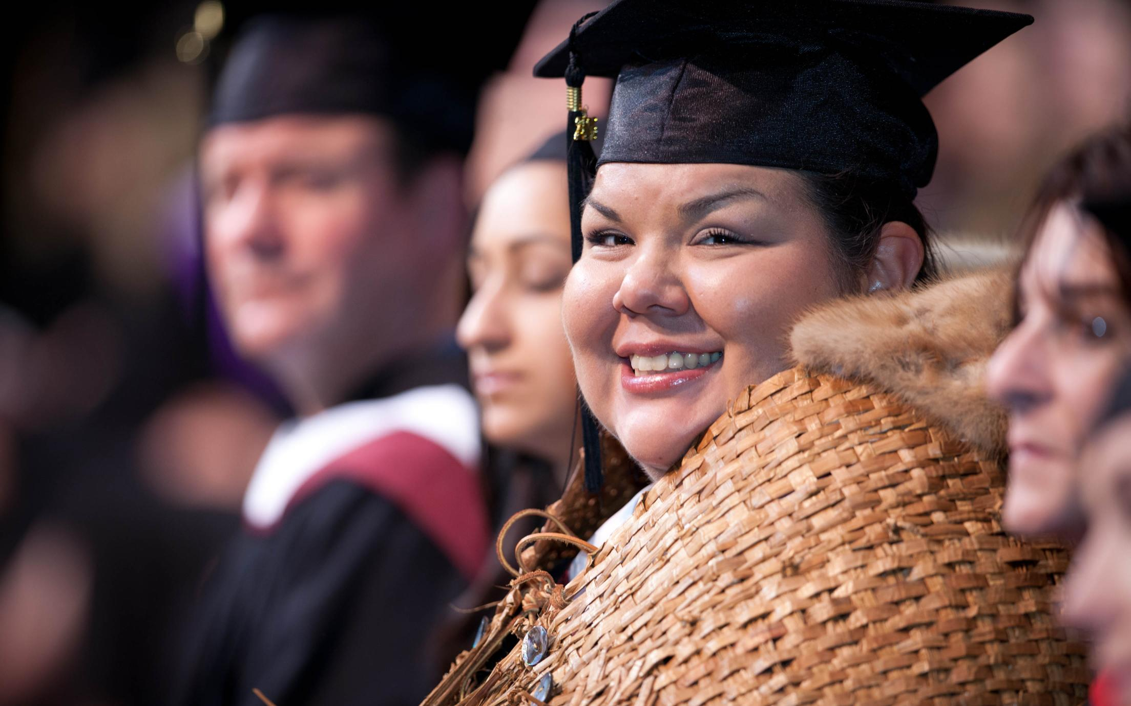 Students of the Business Fundamentals for Aboriginal Communities Certificate program at their convocation after completing their principles of management courses successfully