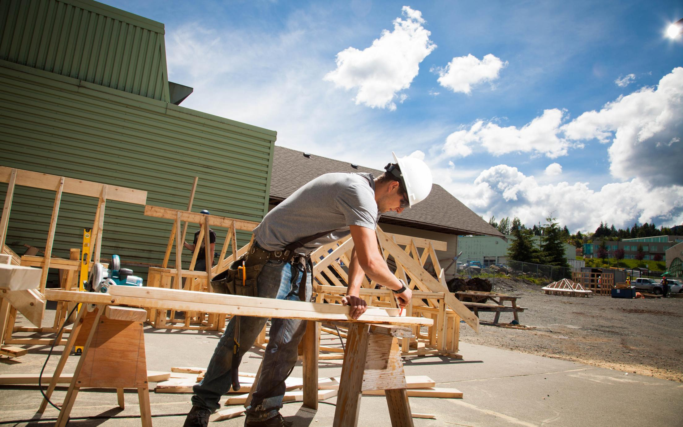 A Carpentry Apprenticeship student working on his wooden project