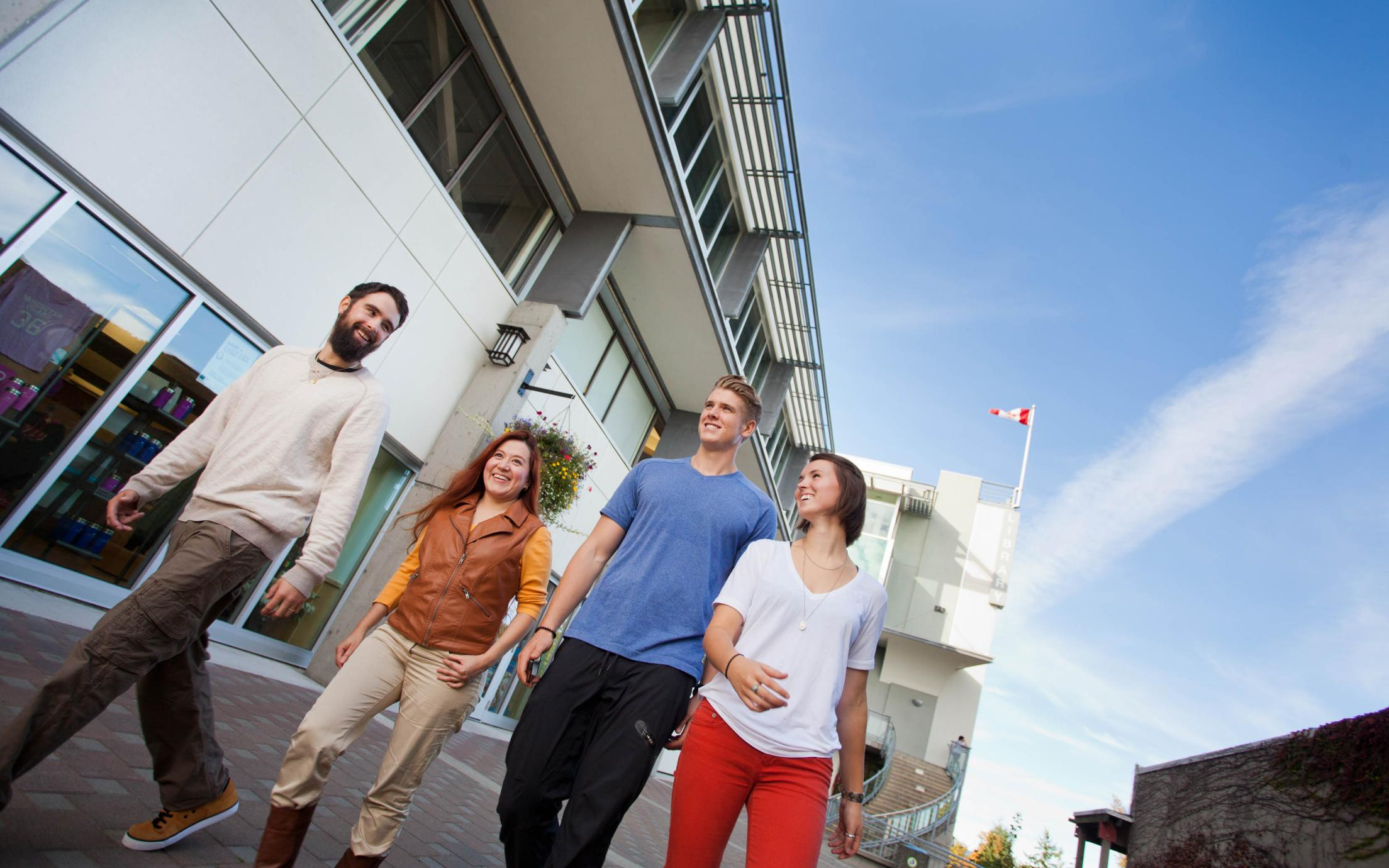Students of the Certificate in Business Management program strolling around VIU's campus