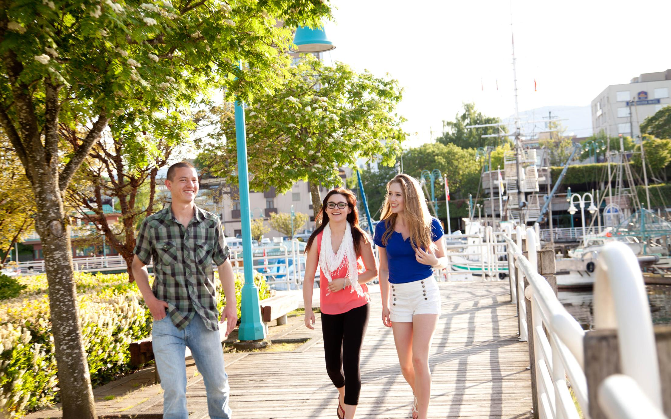 Students of the Exploratory University Studies (EXPO) program exploring downtown Nanaimo