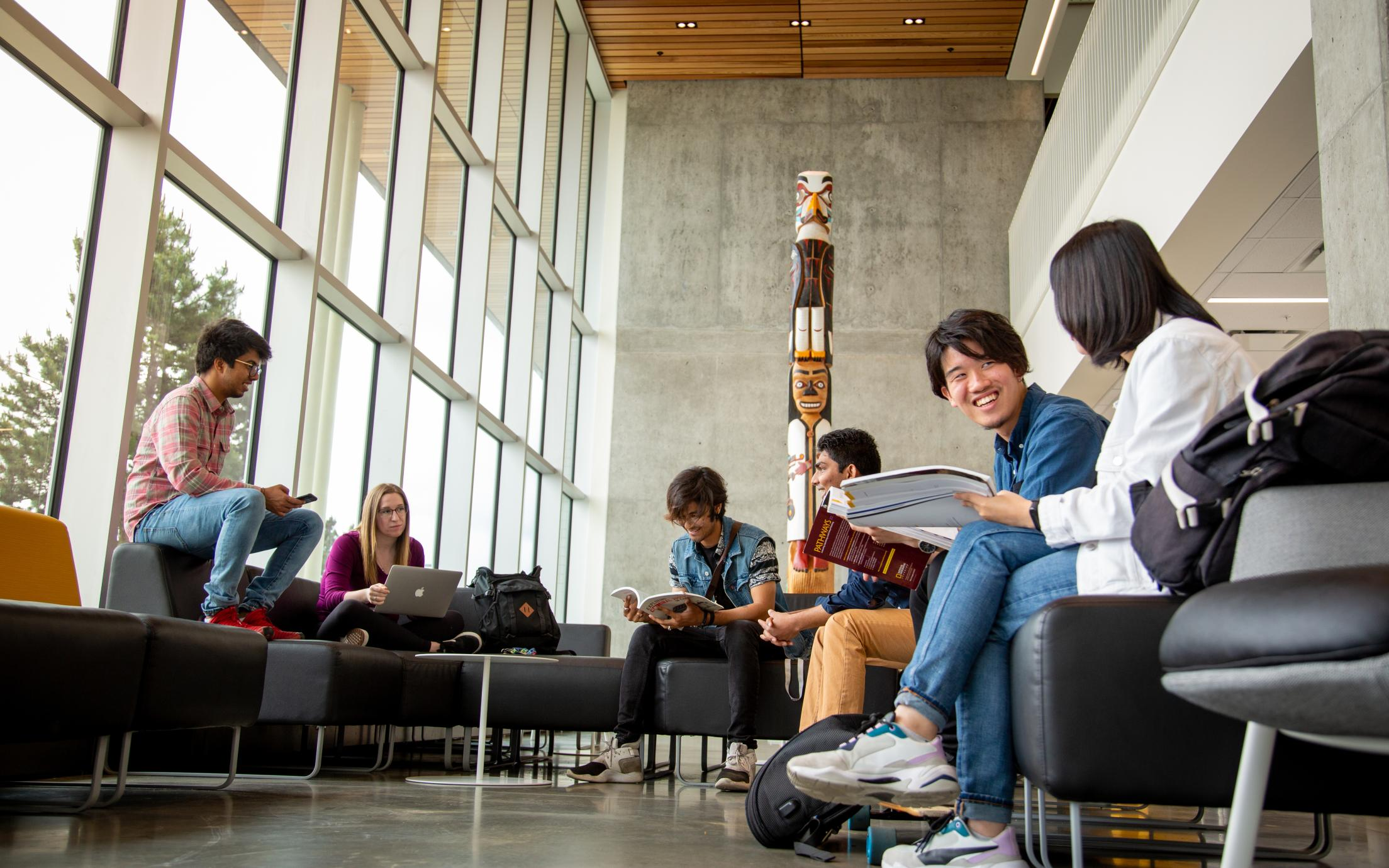 Vancouver Island University students studying together