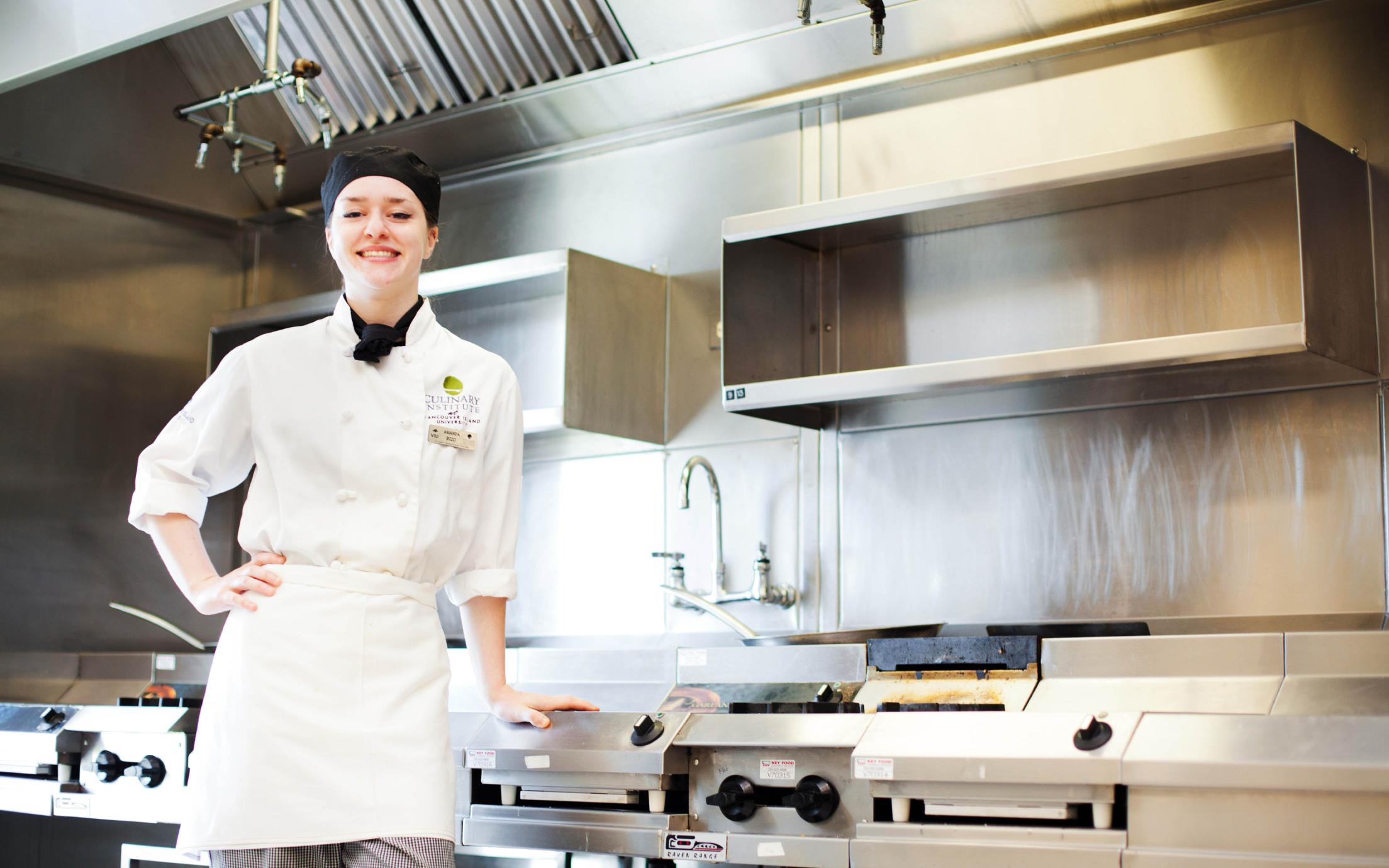 Culinary Management Diploma Student, Amanda Rizzo, at VIU's Culinary Campus