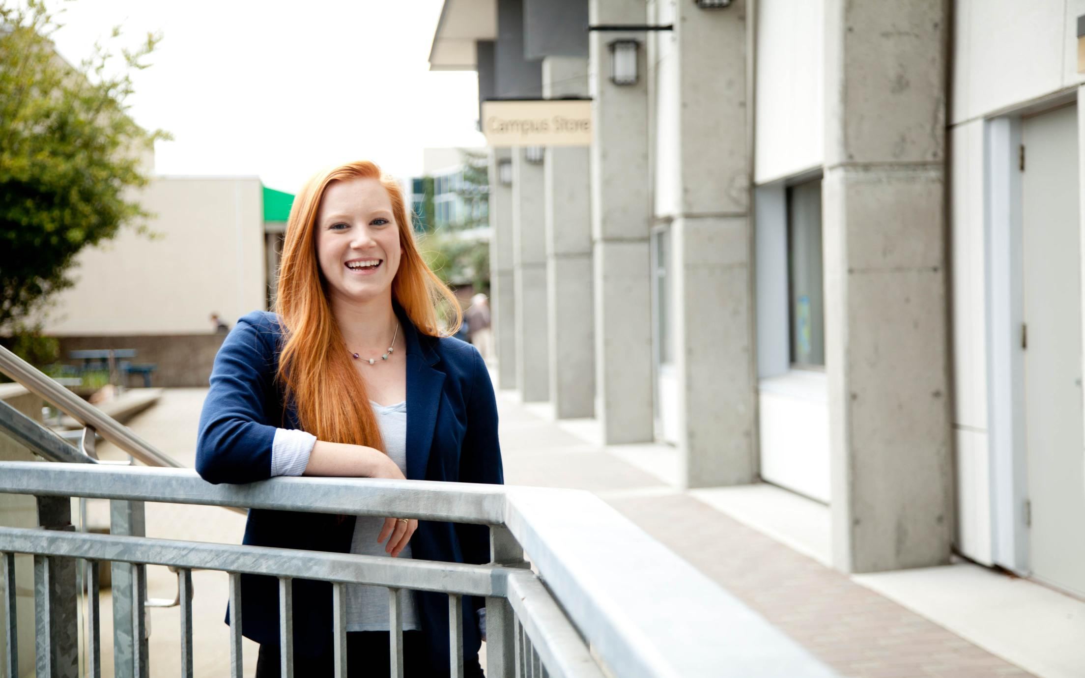 Hannah Donovan, a student of Vancouver Island University's Social Services Diploma program, in front of the bookstore