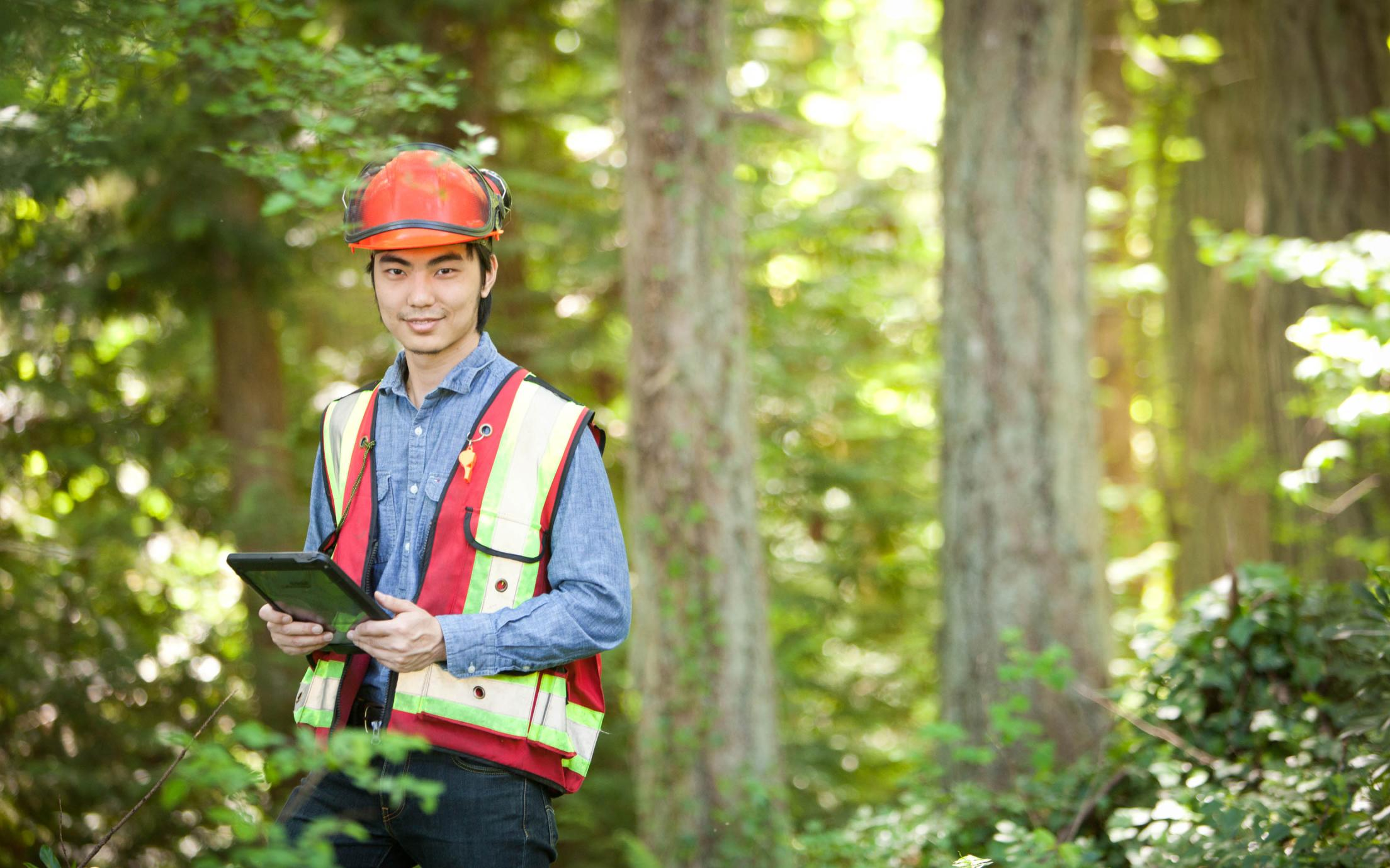Forest Resources Technology Diploma Student, Jiahang Li, undergoing a logging training
