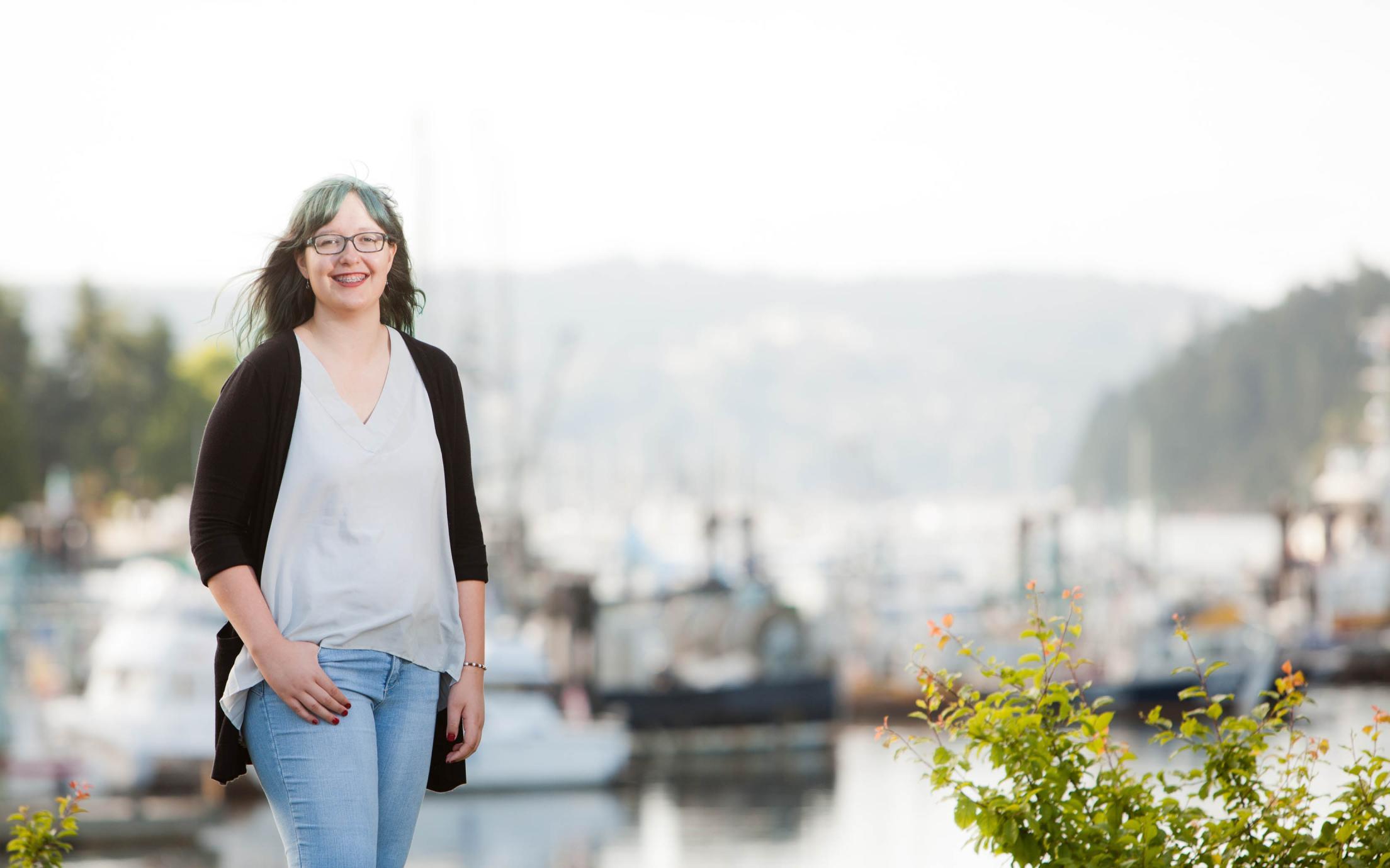 Exploratory University Studies Student, Kyra Egan, exploring Nainaimo