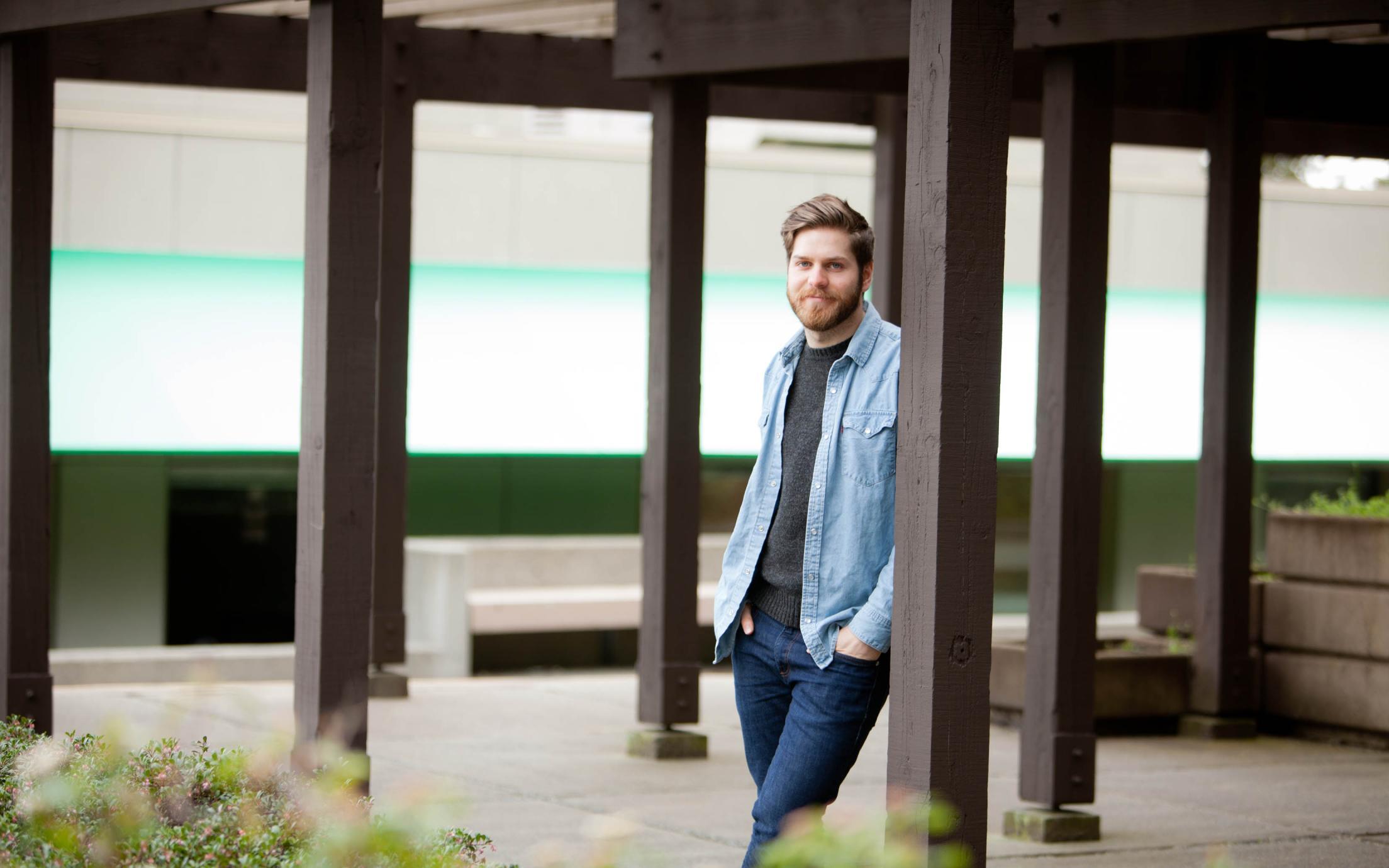 Matt Lineker, a student of VIU's Bachelor in Graphic Design degree program on campus
