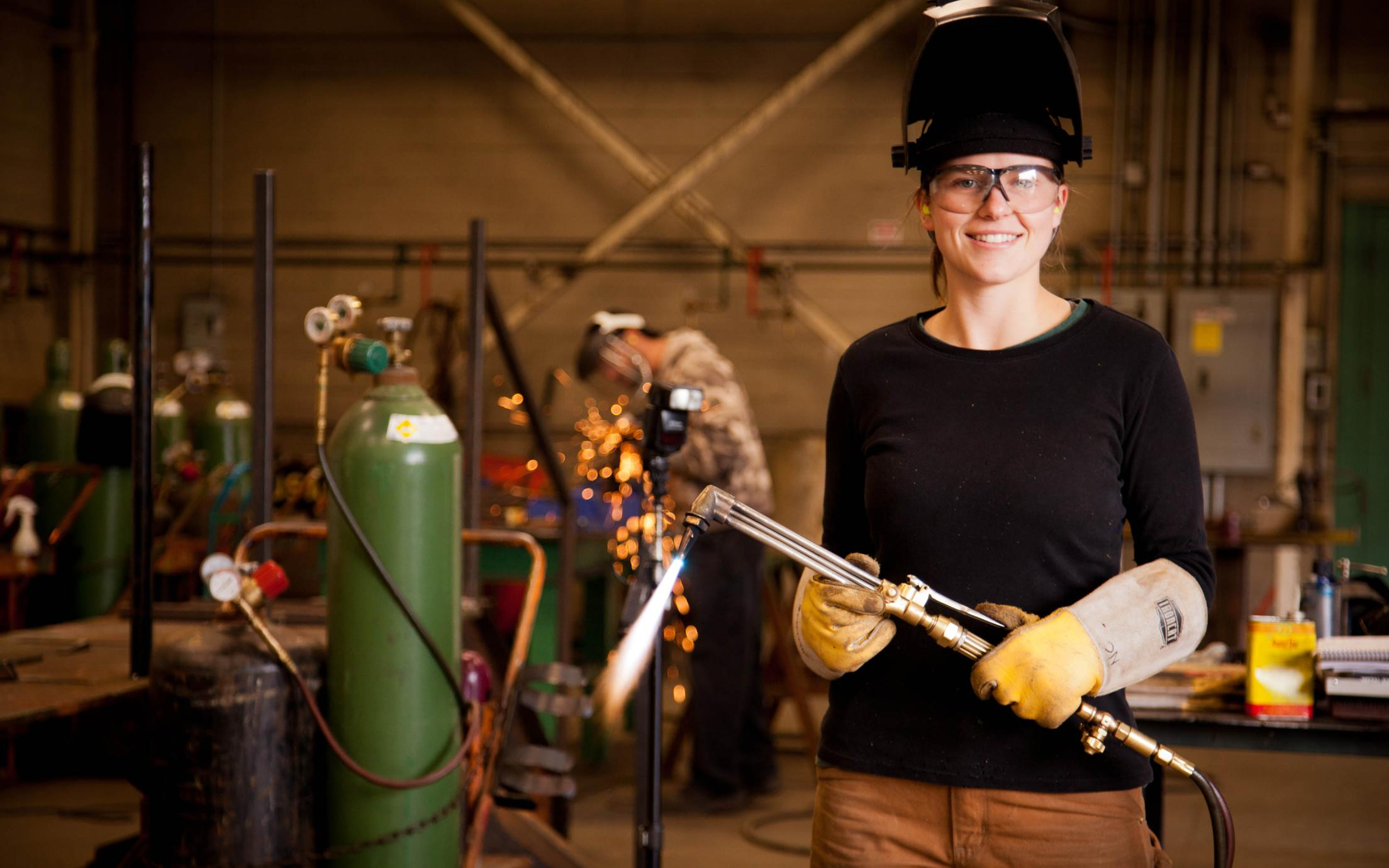 Welding Certification Student, Natalie Chester, working on a project at VIU's Welding school