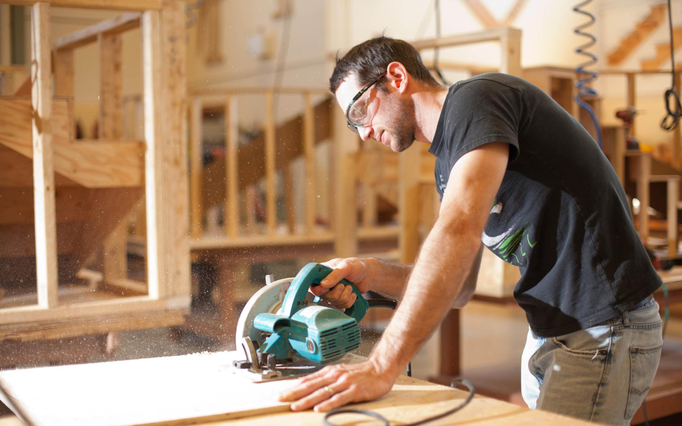 Carpentry Student, Steve Remple, working on timber at VIU's carpenter school