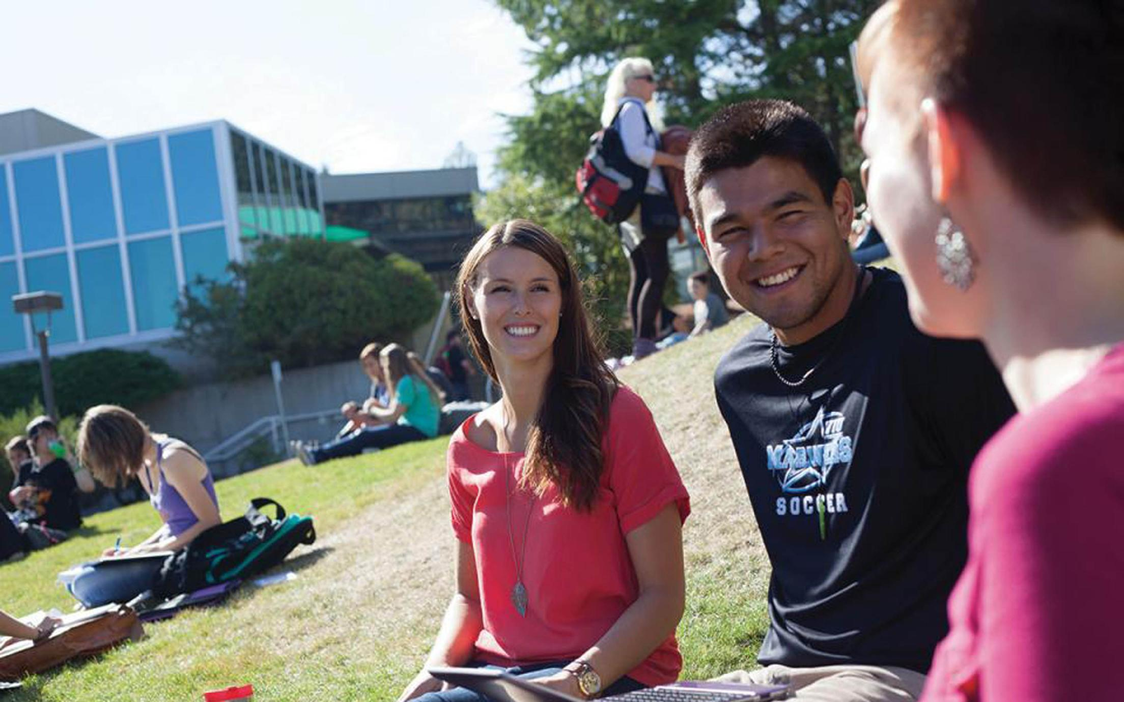 Students of VIU's sport science courses gathering at VIU's campus