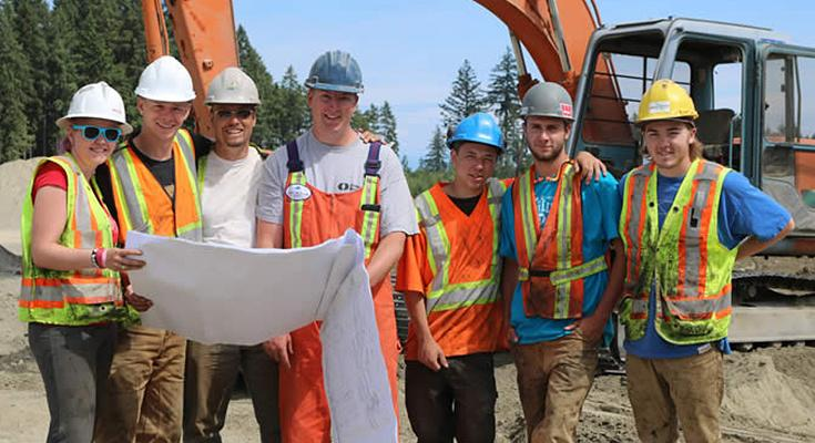 VIU HEO students for Habitat for Humanity: (L to R) Libby Stubbs, Ken Lotoski, Marcus Ooms, HEO instructor Brandon Lindsay, Hunter Hamel, Tyson Folz and Josh Morrison.
