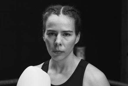 Ivy Richardson wearing boxing gloves