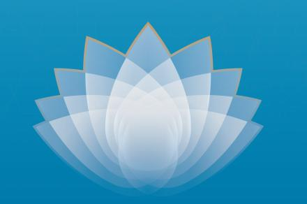A white lotus flower with gold trim is on a blue background over the words Recognition, Resilience and Resolve
