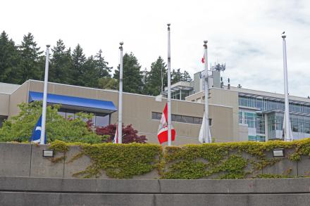 Flags on VIU's Nanaimo campus, lowered