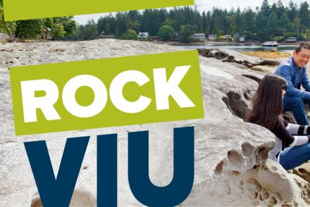 Rock VIU logo with students on a beach in background