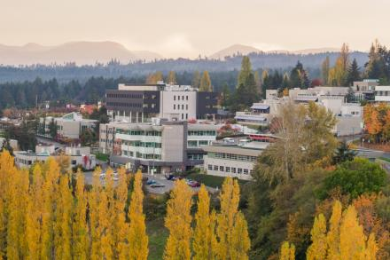 Aerial view of Nanaimo campus in the fall