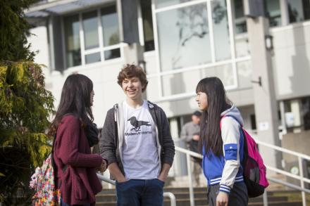VIU students in the quad at the Nanaimo campus